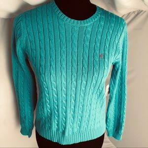 Ralph Lauren teal cable knit crew neck sweater